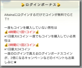 Aitainaのログインボーナス