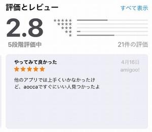 アオッカのアプリのレビュー